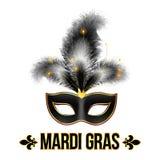 Máscara negra del carnaval de Mardi Gras con las plumas Imágenes de archivo libres de regalías