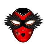 Máscara negra roja del carnaval stock de ilustración