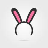 Máscara preta das orelhas de coelho com sombra ilustração stock