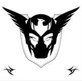 Máscara preta voada sobre o protetor ilustração royalty free