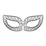 Máscara preto e branco do vintage no fundo branco Imagens de Stock Royalty Free