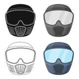 Máscara protectora Solo icono de Paintball en web del ejemplo de la acción del símbolo del vector del estilo de la historieta Foto de archivo