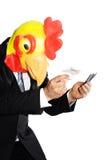 Máscara que desgasta del hombre de negocios en deuda Imágenes de archivo libres de regalías