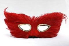 Máscara roja de la pluma Fotografía de archivo