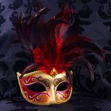 Máscara roja y de oro (Venecia) Foto de archivo libre de regalías