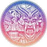 Máscara siniestra del samurai con los colmillos stock de ilustración