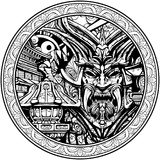 Máscara siniestra del samurai con los colmillos ilustración del vector