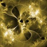 Máscara surreal do carnaval e teste padrão do fractal de uma grade e brilhante Fotografia de Stock Royalty Free