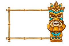 Máscara tribal hawaiana tradicional de Tiki ilustración del vector