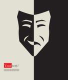Máscara triste feliz stock de ilustración
