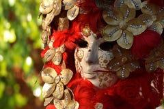 Máscara veneciana adornada con la hoja de oro y el plumaje rojo Foto de archivo