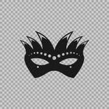Máscara veneciana del carnaval del símbolo del icono en un fondo transparente Imagen de archivo
