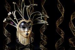 Máscara veneciana del oro negro Fotografía de archivo