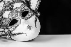 Máscara veneciana en blanco y negro Foto de archivo