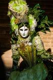 Máscara veneciana en un traje en diversas variedades de verde Imágenes de archivo libres de regalías