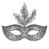 Máscara veneciana floral adornada del carnaval del vector con las plumas Fotos de archivo libres de regalías