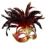 Máscara veneciana roja y de oro Foto de archivo libre de regalías