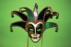 Máscara veneciana verde Fotografía de archivo libre de regalías