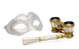 Máscara Venetian do carnaval com o teatro do vintage binocular Fotos de Stock Royalty Free