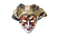 Máscara Venetian feito a mão do arlequim isolada no fundo branco Fotos de Stock Royalty Free