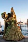 Máscara verde del ángel en luz de la puesta del sol Foto de archivo libre de regalías