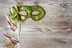 Máscara verde del carnaval Fotos de archivo