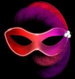 máscara vermelha do carnaval com penas ilustração do vetor