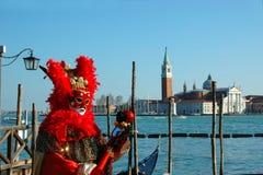 Máscara vermelha no carnaval de Veneza 2011 Foto de Stock Royalty Free