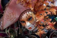 Máscara vermelha tradicional do carnaval em Veneza Fotografia de Stock