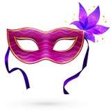 Máscara violeta do carnaval do vetor com flor Fotografia de Stock