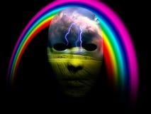 Máscara y arco iris libre illustration