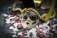 Máscara y flámula del carnaval Imagen de archivo libre de regalías