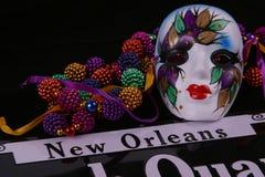 Máscara y granos de New Orleans Foto de archivo