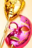 Máscaras adornadas aisladas en el blanco Imágenes de archivo libres de regalías