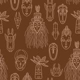 Máscaras africanas dibujadas mano Foto de archivo libre de regalías