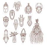 Máscaras africanas dibujadas mano Imagen de archivo libre de regalías