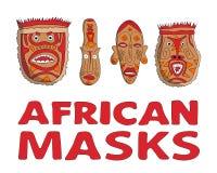 Máscaras africanas fijadas Imagenes de archivo