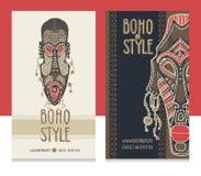 Máscaras africanas tradicionales Plantilla étnica de la tarjeta del estilo, tienda del boho, tarjetas de visita stock de ilustración