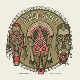 Máscaras africanas tradicionales Plantilla étnica de la tarjeta del estilo, tienda del boho, tarjetas de visita ilustración del vector