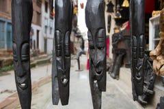 Máscaras asiáticas tradicionais feitas da madeira Imagem de Stock
