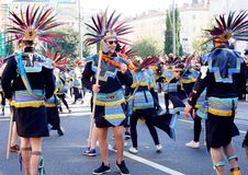 Máscaras astecas na procissão do carnaval em Fiume, em fevereiro de 2018 Fotos de Stock Royalty Free