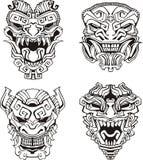 Máscaras aztecas del tótem del monstruo Imagen de archivo