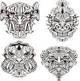 Máscaras aztecas del tótem del monstruo Fotos de archivo libres de regalías