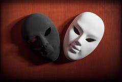 Máscaras blancos y negros Fotografía de archivo