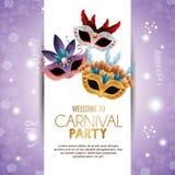 Máscaras bonitos do partido bem-vindo do carnaval com fundo roxo brilhante das penas ilustração stock