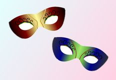 Máscaras carnaval realísticas ilustração royalty free