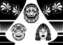 Máscaras clássicas do teatro do grego clássico Foto de Stock