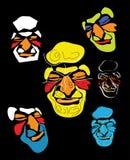 Máscaras coloridas das caras Fotos de Stock