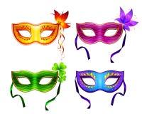 Máscaras coloridas do carnaval do vetor ajustadas Fotos de Stock Royalty Free