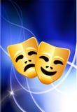 Máscaras da comédia e da tragédia no fundo claro Fotografia de Stock